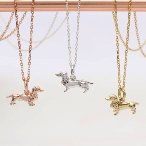 an image of an 18 carat gold or sterling silver dachshund necklace