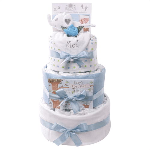 an image of a three tier nappy cake gift hamper set for baby boys