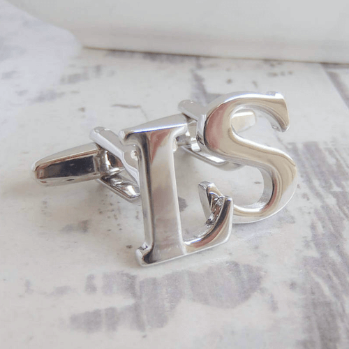 an image of silver initial cufflinks