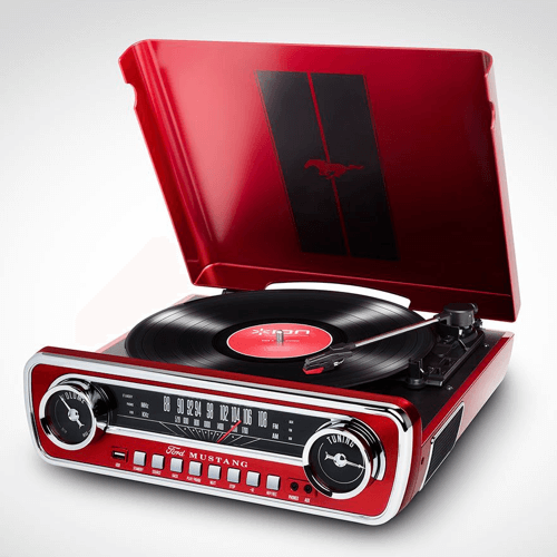 an image of a red mustang branded LP player
