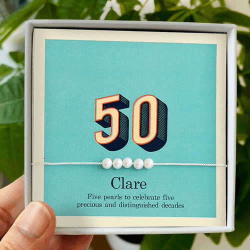 an image of a 50th birthday pearl bracelet gift for her