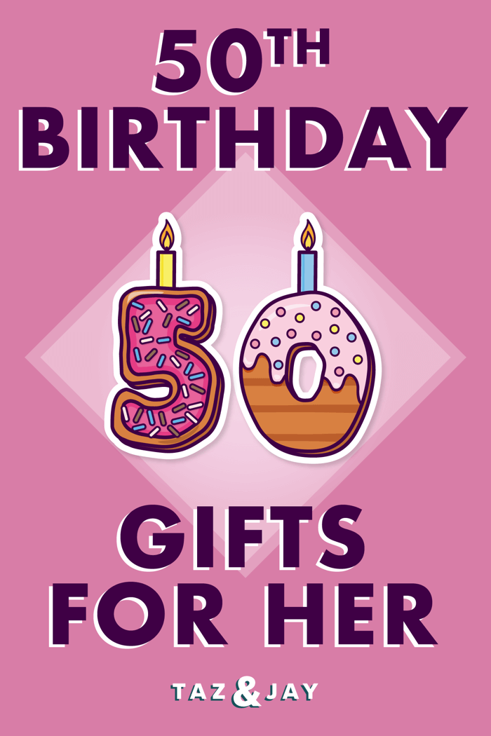 50th birthday gifts for her pinterest pin image