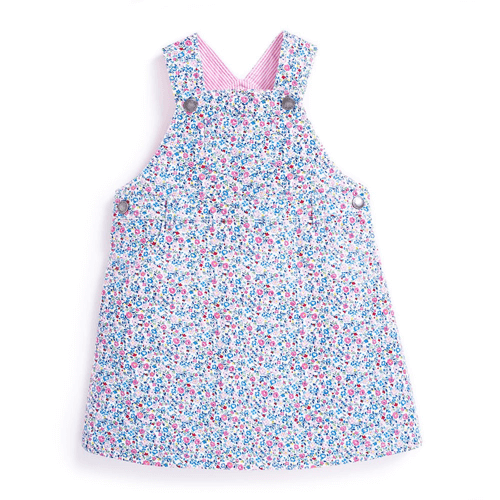 an image of a girls summer ditsy floral dungaree dress