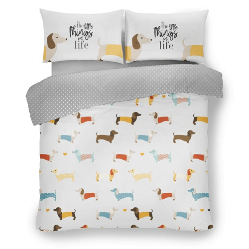 an image of a sausage dog duvet cover set