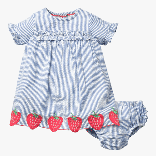 an image of a striped and strawberry dress and knickers set