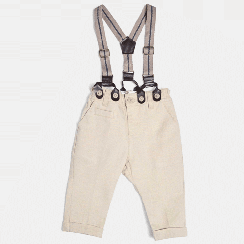 an image of linen trousers with braces for a baby boy