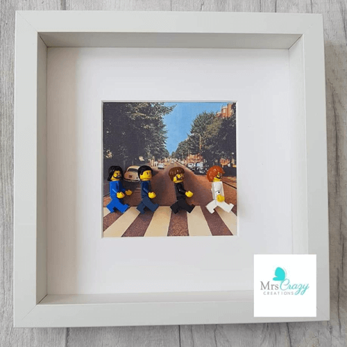 an image of a Beatles-themed Lego minifigure frame gift