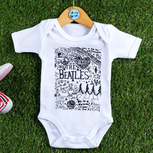 an image of a Beatles-themed baby bodysuit
