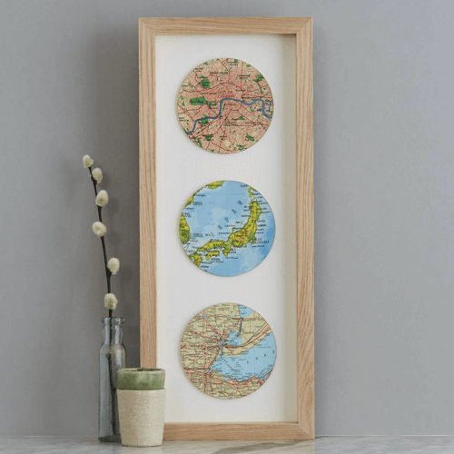 image of a personalised map print - one of our ideas for personalised anniversary gifts for him