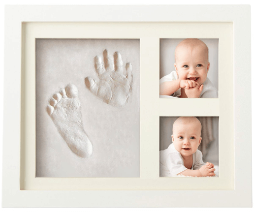 an image of a framed baby handprint and footprint kit for new mums