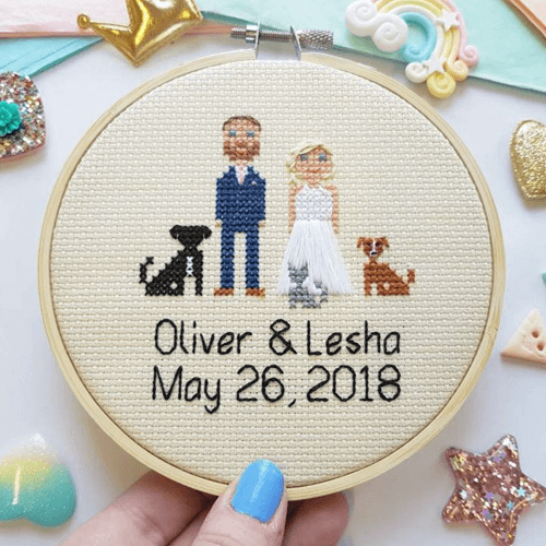 an image of a custom couple or family cross stitch portrait