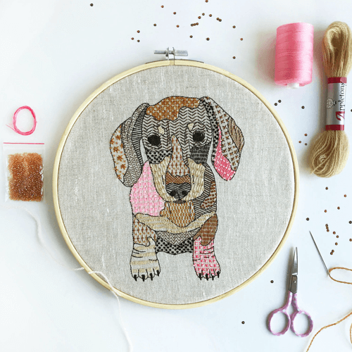 an image of a dachshund embroidery kit