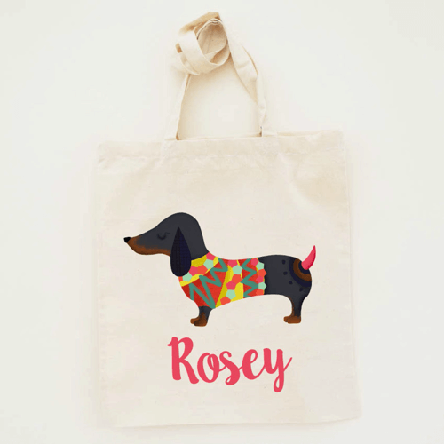 an image of a sausage dog canvas tote bag