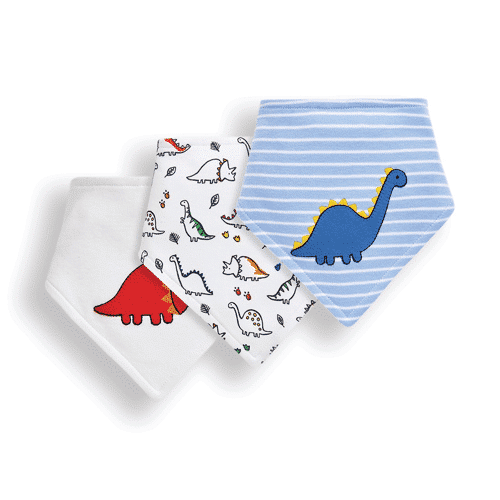 an image of a three pack of dinosaur dribble bibs