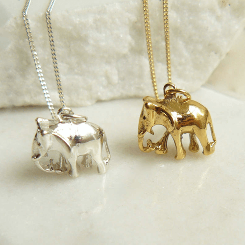 an image of an elephant charm necklace gift