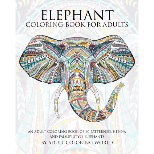an image of an elephant themed colouring book for adults