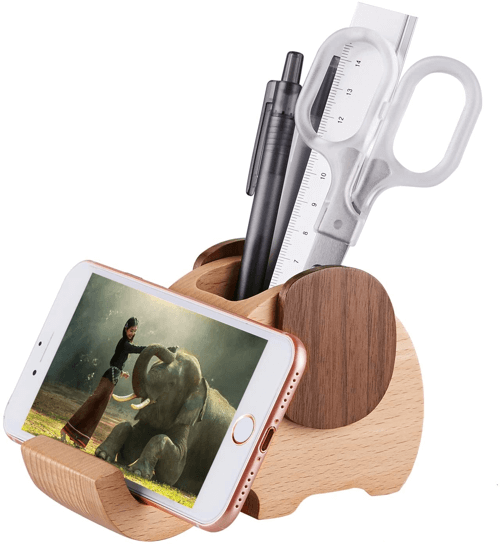 an image of a wooden elephant phone stand and desk organiser