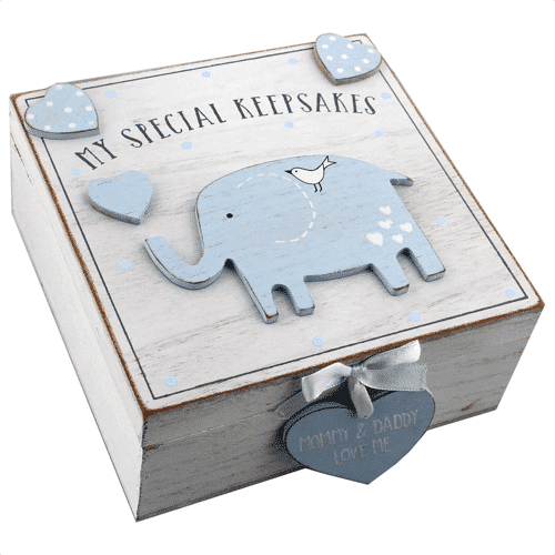 an image of an elephant keepsakes wooden box