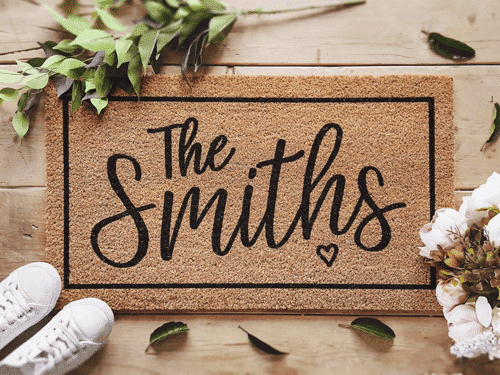 an image of a family name doormat - one of our personalised mr and mrs gifts ideas