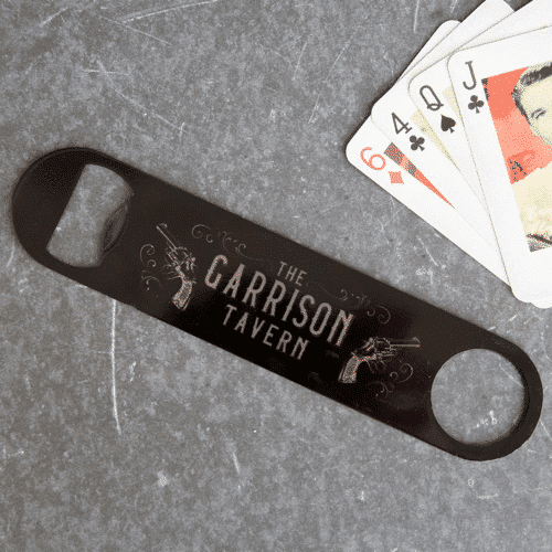 an image of a Garrison Tavern-themed bottle opener