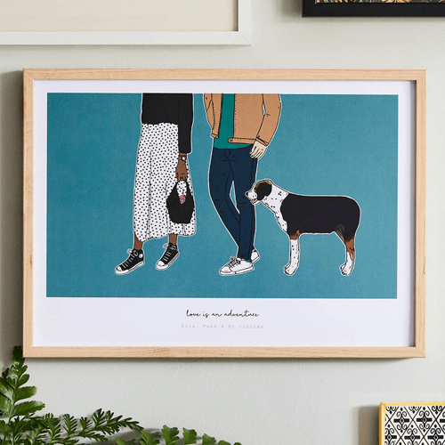 an image of a love is an adventure portrait personalised gifts for couples suggestion