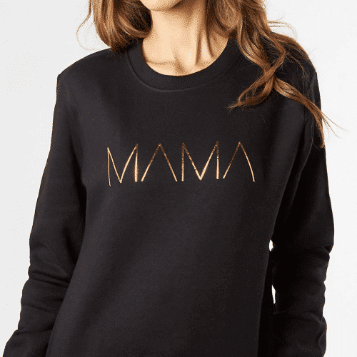 an image of a mama metallic sweatshirt - an ideal gift for new mums