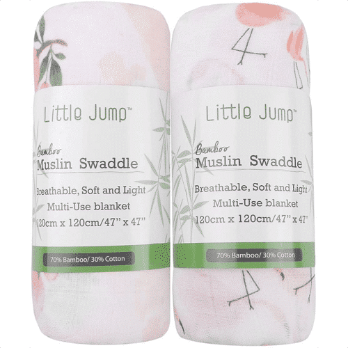 an image of a floral and flamingo print muslin two pack
