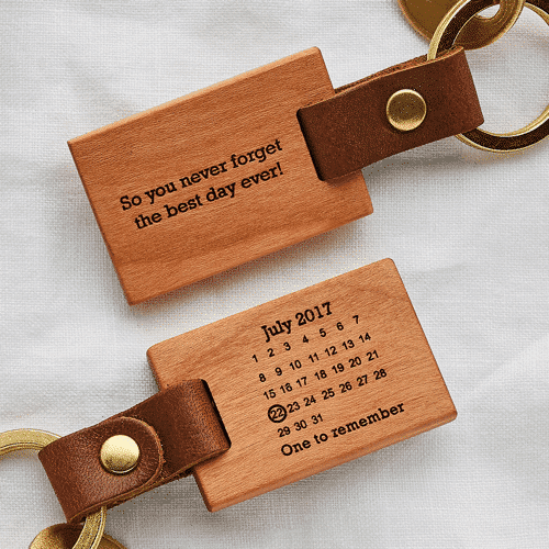 an image of a keyring to help never forget a date - one of our ideas for personalised anniversary gifts for him
