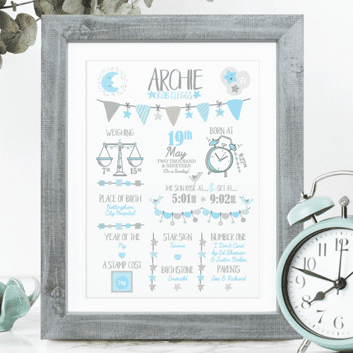 an image of a new baby personalised print