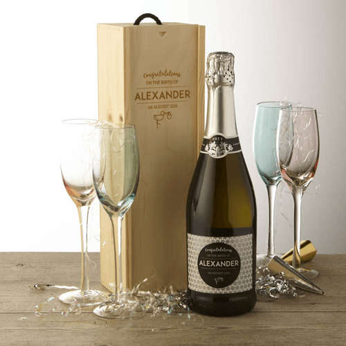 an image of new baby personalised prosecco with gift box
