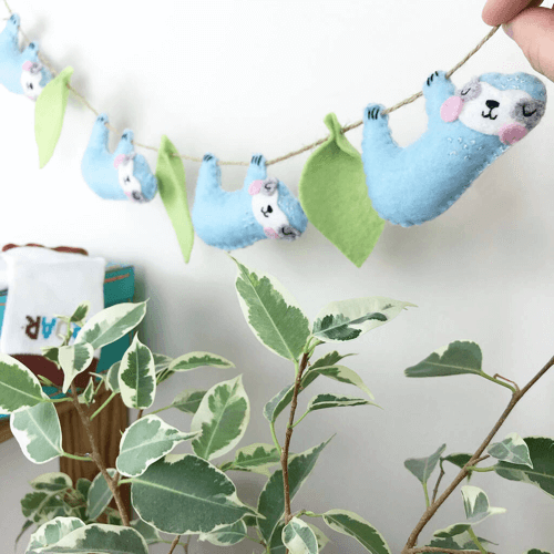 an image of a handmade animal themed felt garland