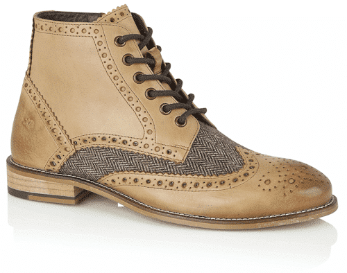 an image of Gatsby boots in tan and tweed