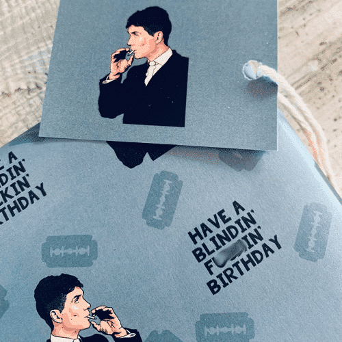 an image of a Peaky Blinders birthday wrapping paper