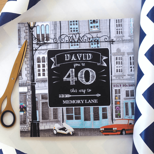an image of a personalised 40th birthday book titled 'memory lane'