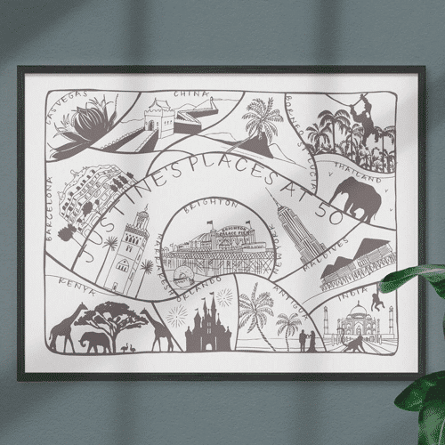 an image of a personalised 50th birthday favourite memories print