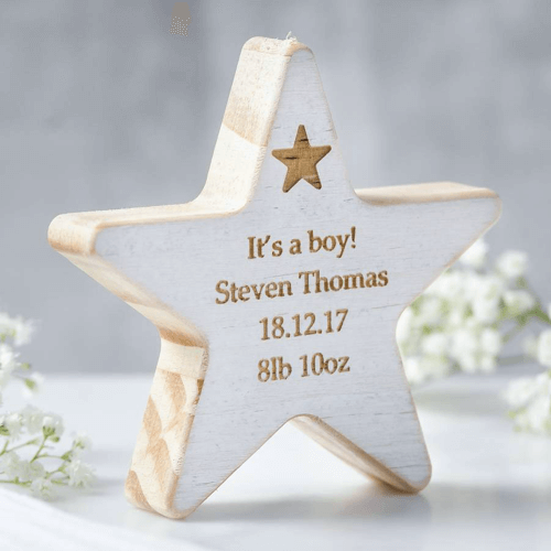 an image of a personalised wooden star keepsake