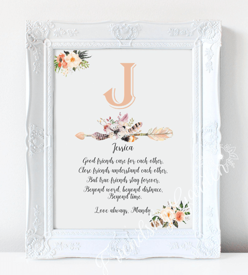 an image of a personalised best friend print gift
