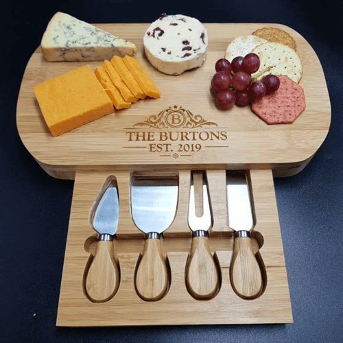 an image of a personalised cheese board and accessories