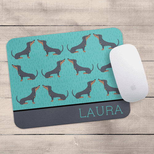 an image of a personalised dachshund mouse mat - one of our suggestions of dachshund lover gifts
