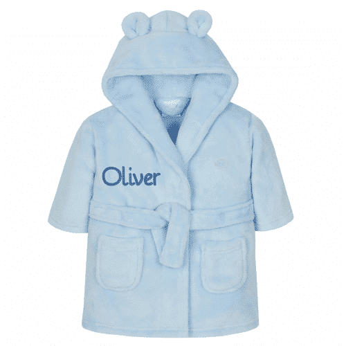 an image of a personalised embroidered dressing gown for baby boys