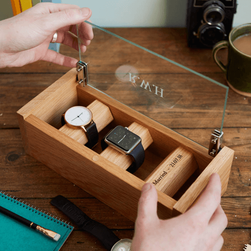 image of a personalised etched glass solid oak watch box gift - one of our ideas for personalised anniversary gifts for him