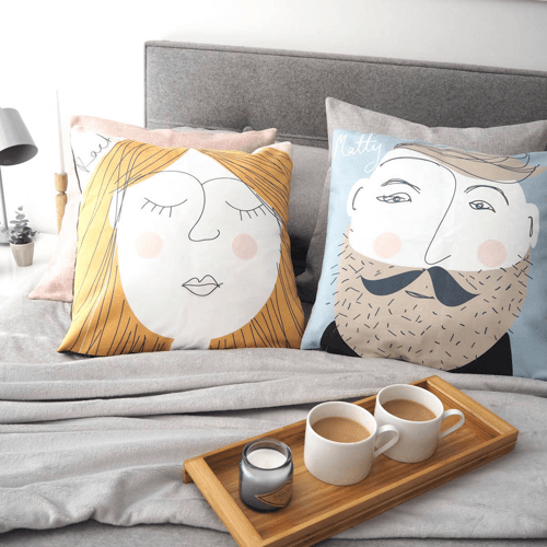 an image of a personalised face cushion - one of our personalised mr and mrs gifts ideas