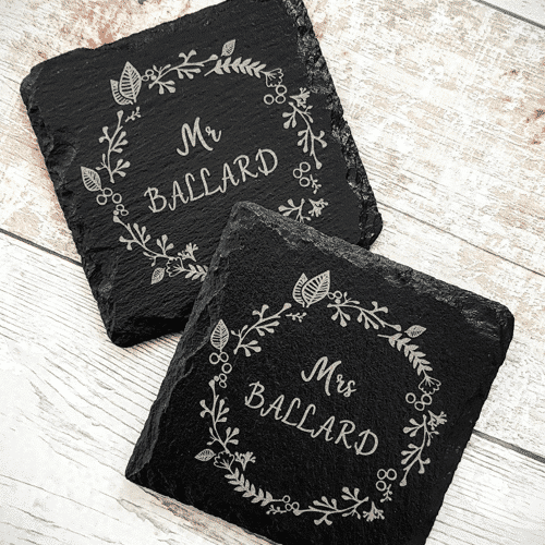 an image of a personalised gift for couples - personalised coasters