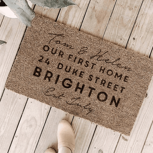 an image of a personalised first home doormat