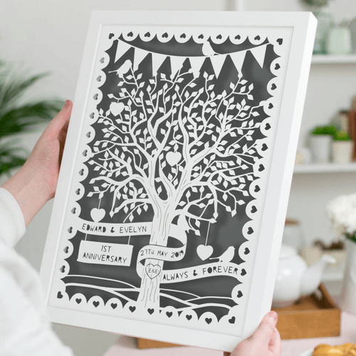 an image of a personalised papercut love tree