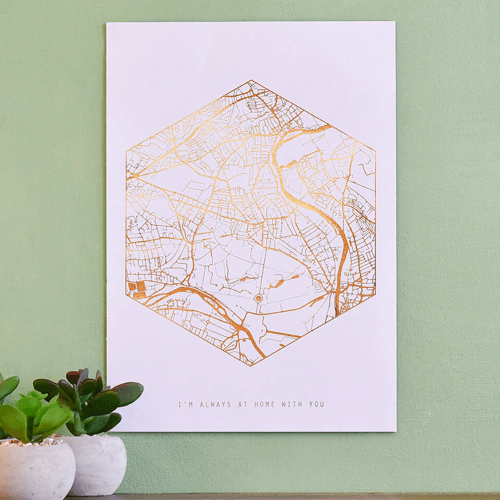 an image of a personalised metallic foil map