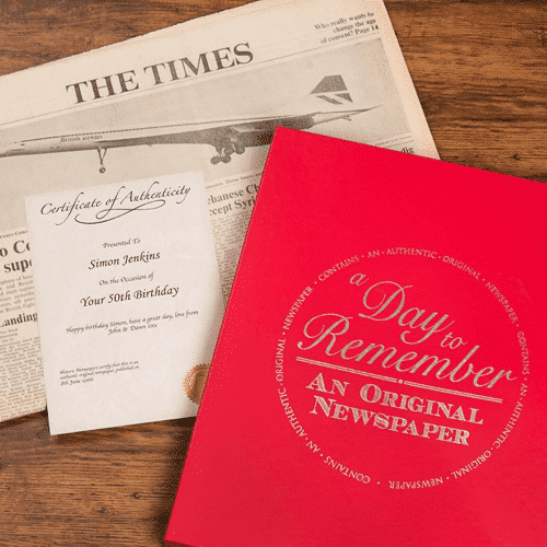 an image of an original newspaper gift