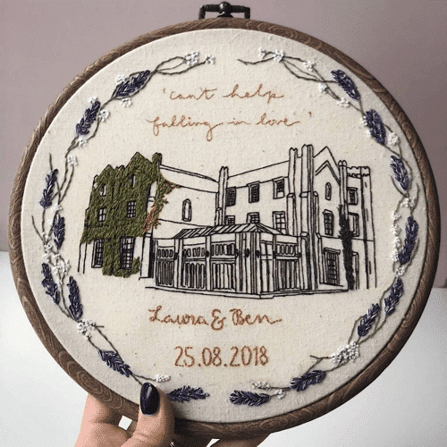 an image of a personalised wedding venue embroidery