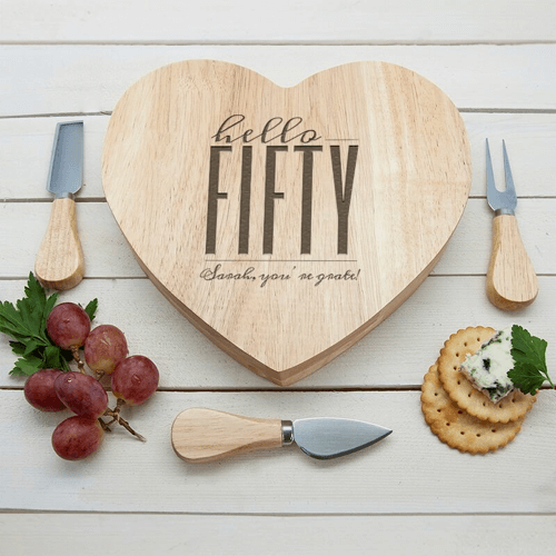 an image of a personalised hello fifty cheese board