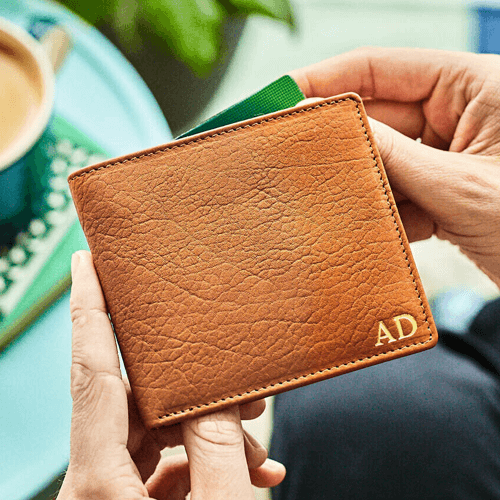 an image of a personalised leather wallet